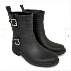 Sam Edelman black moto rubber crocodile rain boots